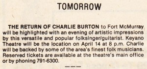 Charlie Burton Newspaper Clipping